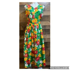 Vintage Talbots Bright Yellow Green Floral Dress